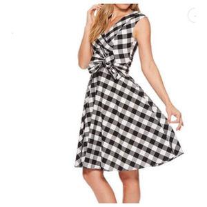 Calvin Klein Black & White Gingham Dress - Size: 8
